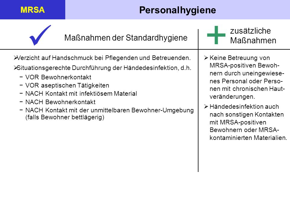 +  Personalhygiene MRSA zusätzliche Maßnahmen