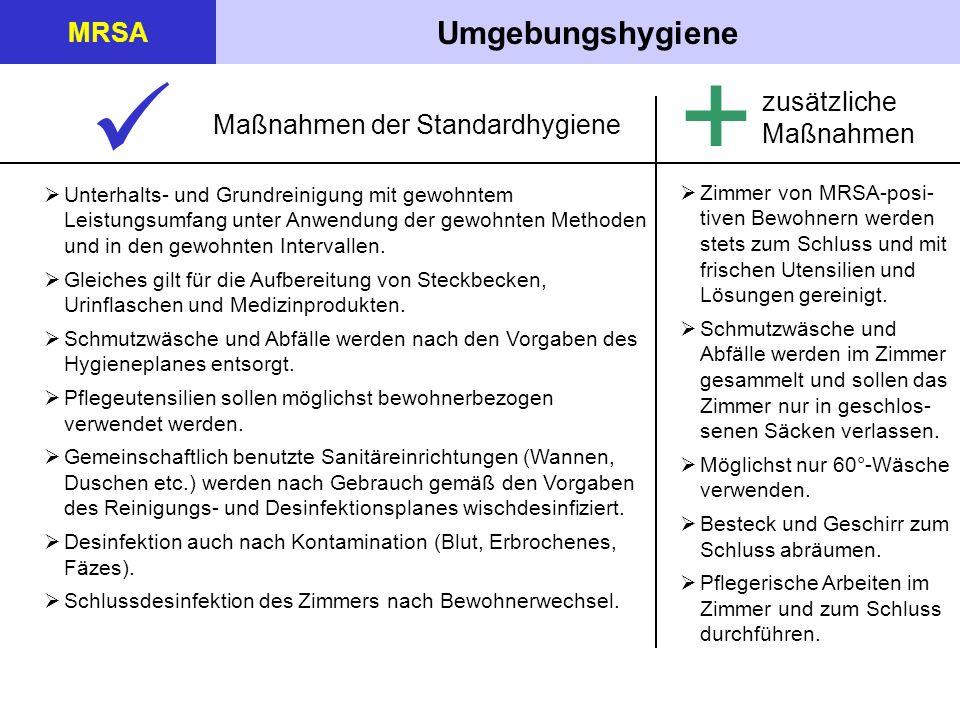 +  Umgebungshygiene MRSA zusätzliche Maßnahmen