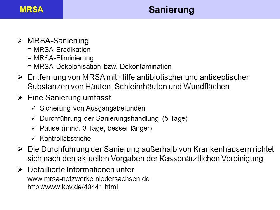 MRSA Sanierung. MRSA-Sanierung = MRSA-Eradikation = MRSA-Eliminierung = MRSA-Dekolonisation bzw. Dekontamination.