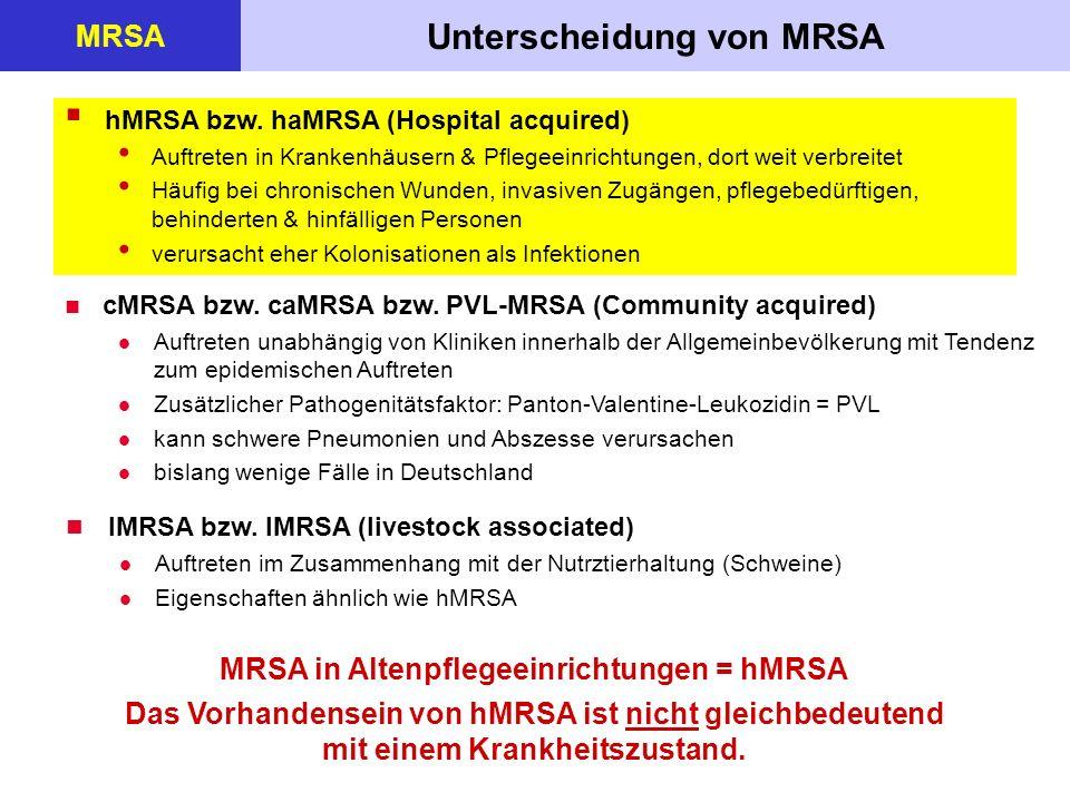 Unterscheidung von MRSA MRSA in Altenpflegeeinrichtungen = hMRSA