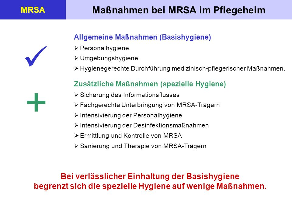 +  Maßnahmen bei MRSA im Pflegeheim MRSA