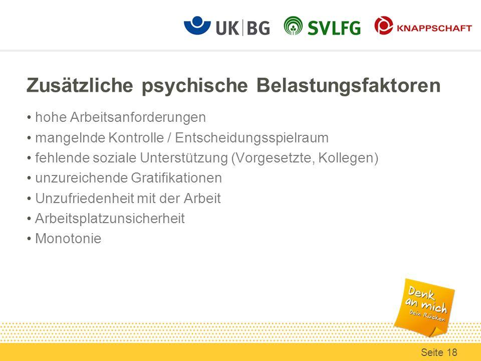 Zusätzliche psychische Belastungsfaktoren