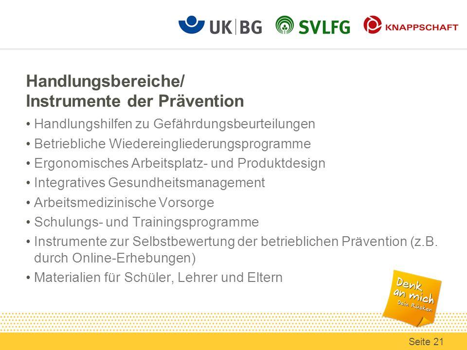 Handlungsbereiche/ Instrumente der Prävention