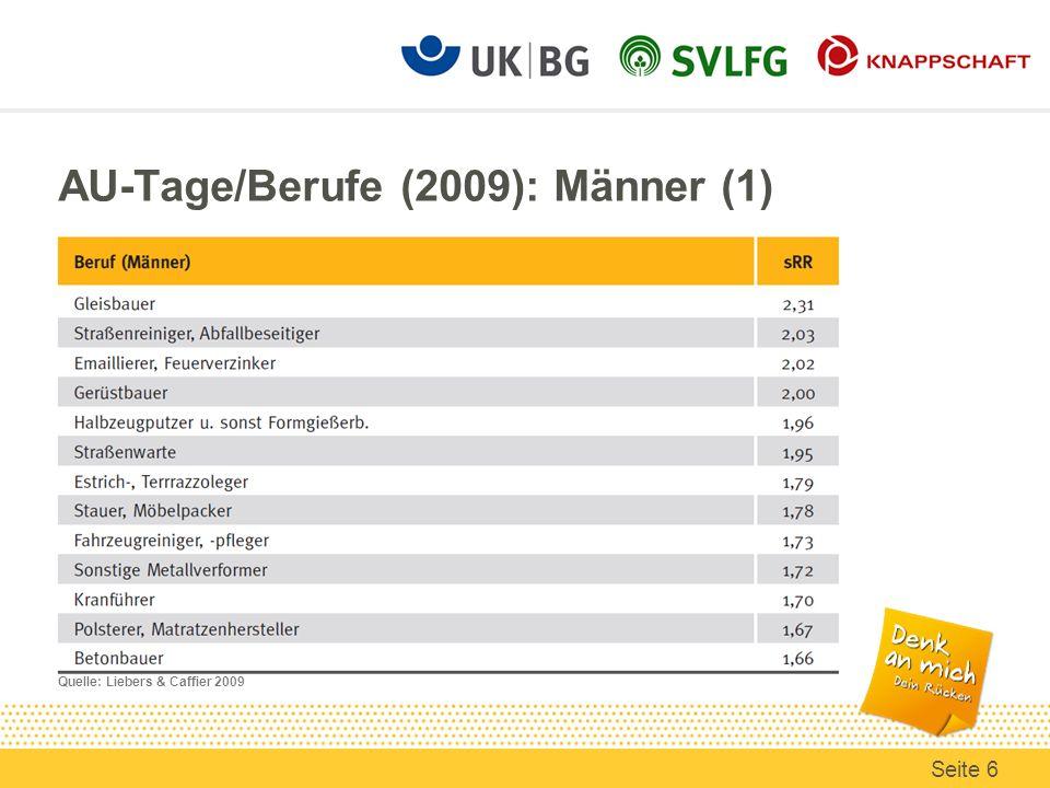 AU-Tage/Berufe (2009): Männer (1)