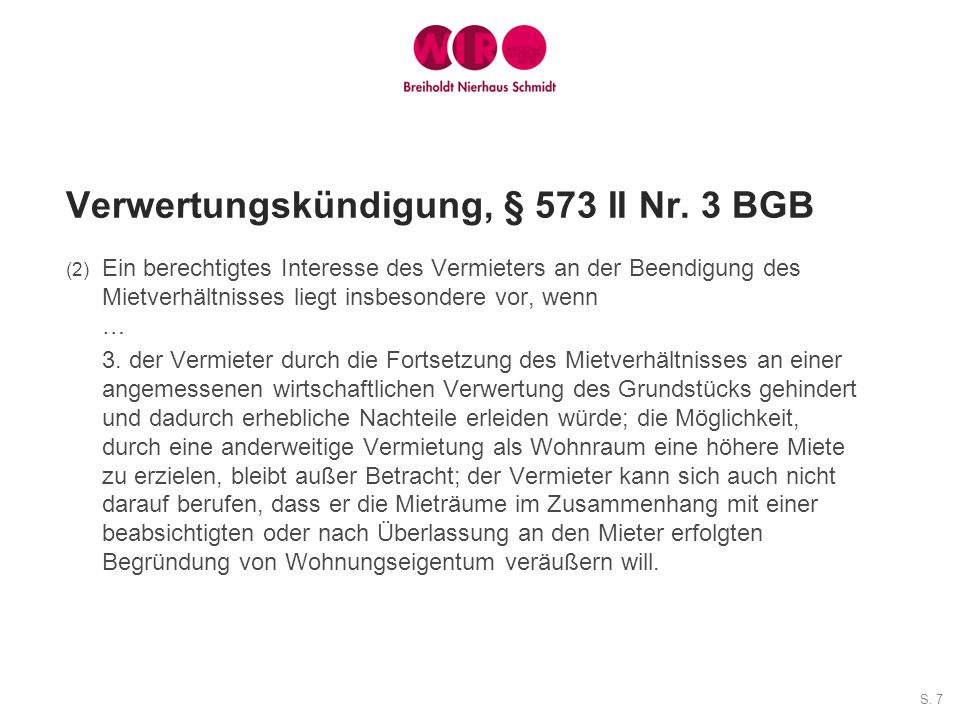 Verwertungskündigung, § 573 II Nr. 3 BGB