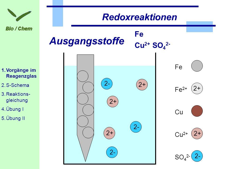Ausgangsstoffe Redoxreaktionen Fe Cu2+ SO42- Fe 2+ Fe2+ 2+ Cu 2- 2+