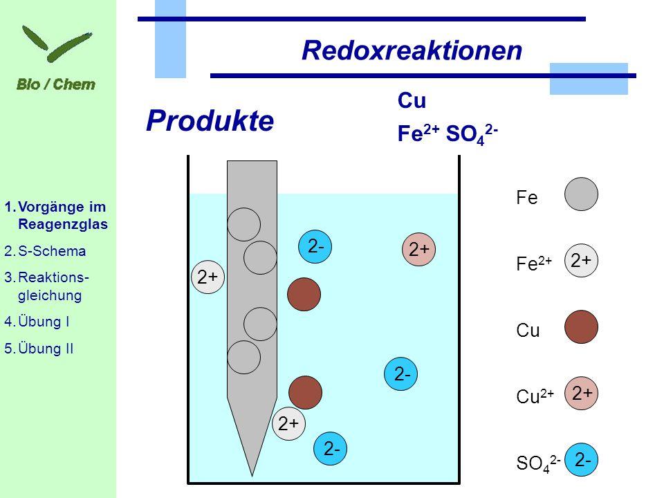 Produkte Redoxreaktionen Cu Fe2+ SO42- Fe 2- 2+ 2+ Fe2+ Cu 2- 2+ Cu2+