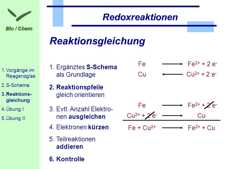 Reaktionsgleichung Redoxreaktionen Fe Cu Cu2+ + 2 e- Fe2+ + 2 e-