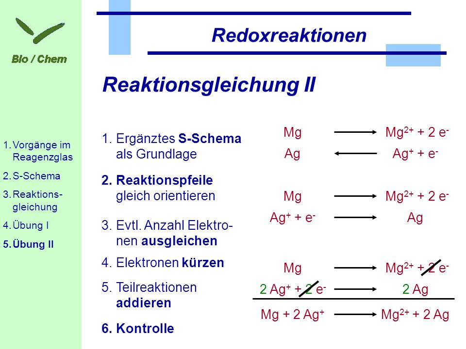 Reaktionsgleichung II