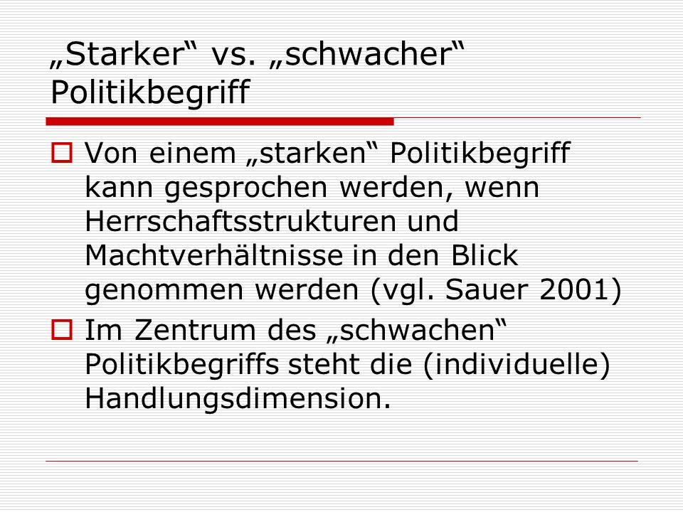 """Starker vs. ""schwacher Politikbegriff"