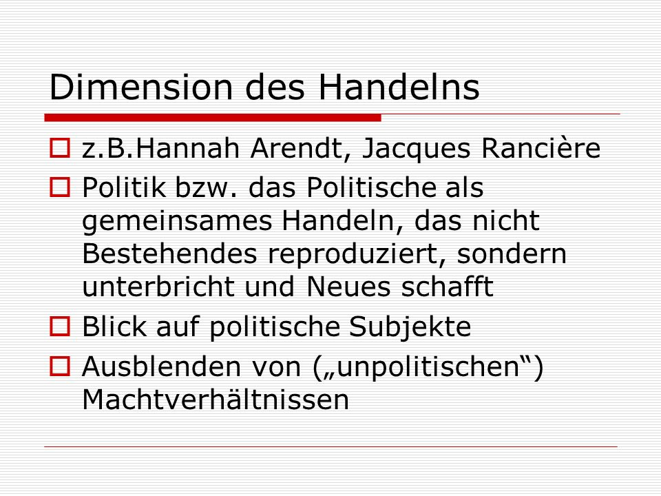 Dimension des Handelns