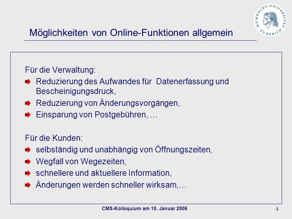 Möglichkeiten von Online-Funktionen allgemein