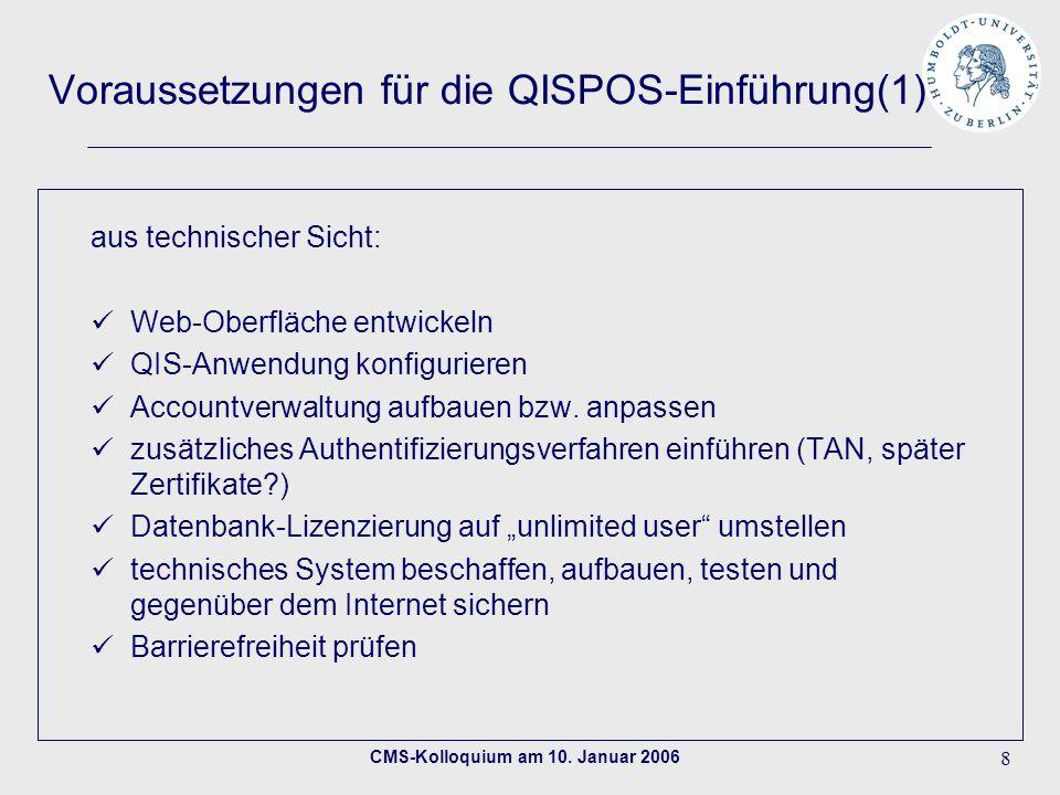 Voraussetzungen für die QISPOS-Einführung(1)