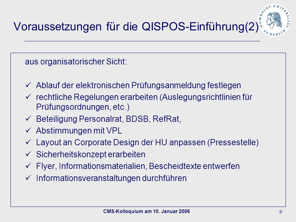 Voraussetzungen für die QISPOS-Einführung(2)