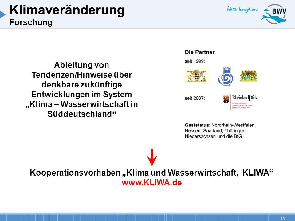 """Kooperationsvorhaben """"Klima und Wasserwirtschaft, KLIWA"""