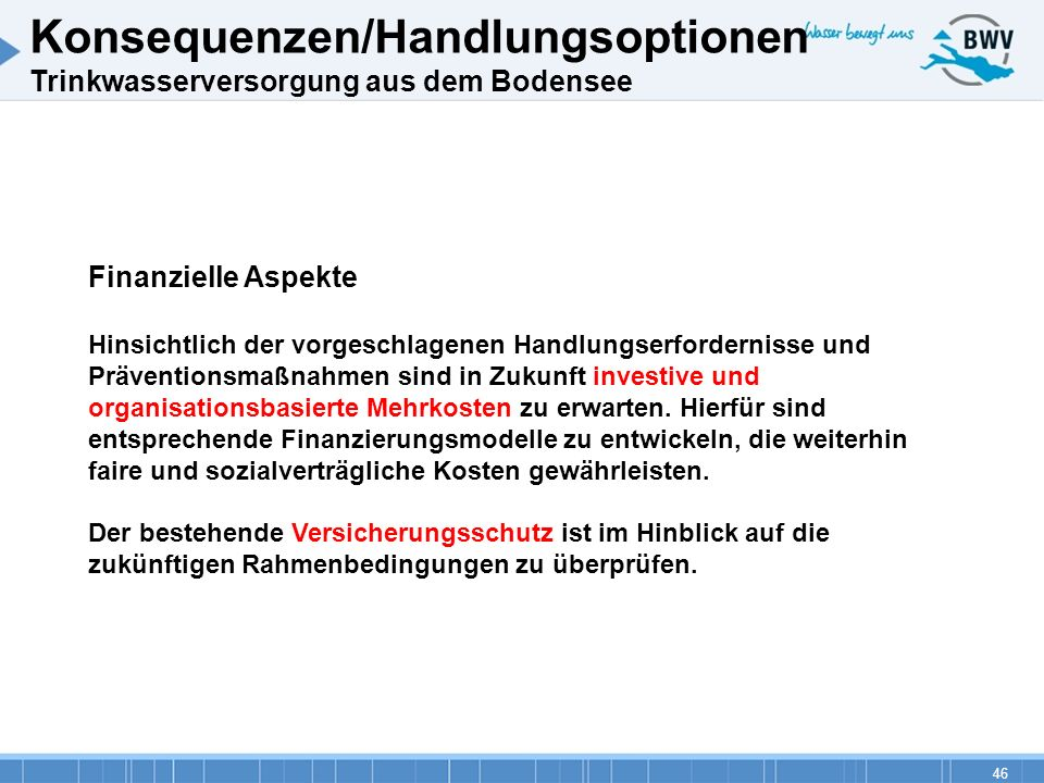 Konsequenzen/Handlungsoptionen Trinkwasserversorgung aus dem Bodensee