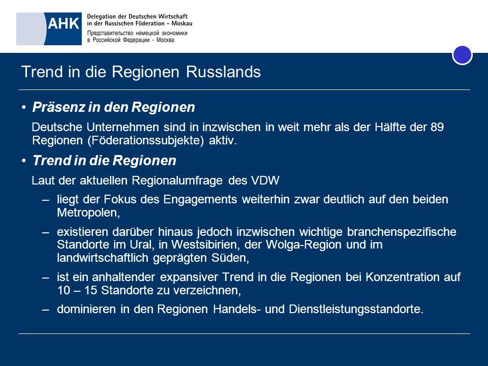 Trend in die Regionen Russlands