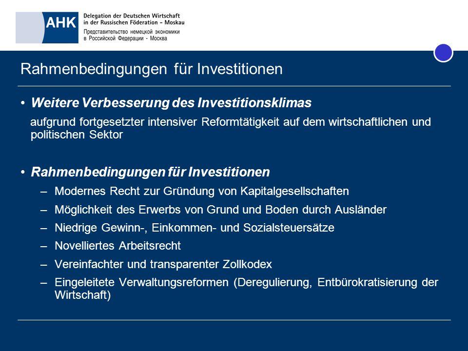 Rahmenbedingungen für Investitionen