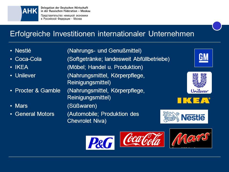 Erfolgreiche Investitionen internationaler Unternehmen