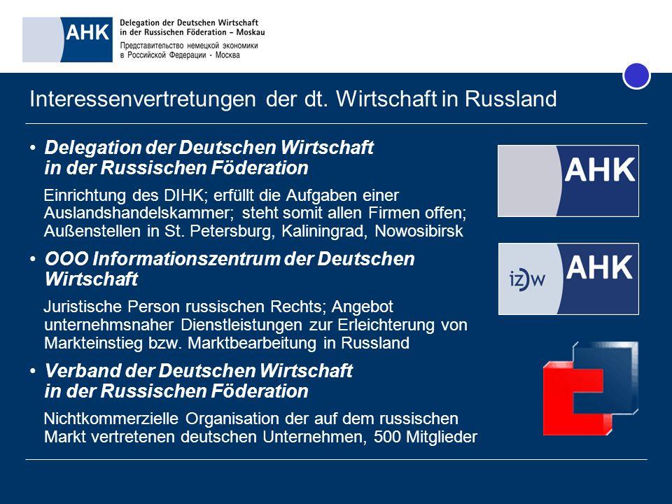 Interessenvertretungen der dt. Wirtschaft in Russland