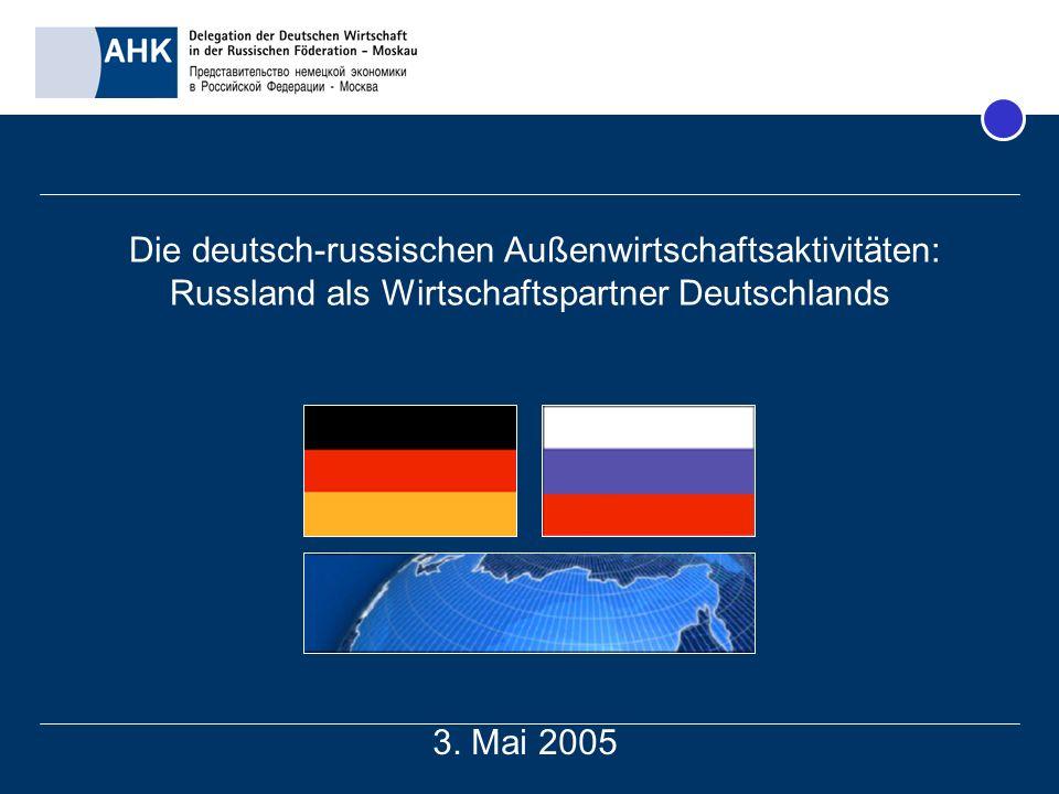 Die deutsch-russischen Außenwirtschaftsaktivitäten: Russland als Wirtschaftspartner Deutschlands
