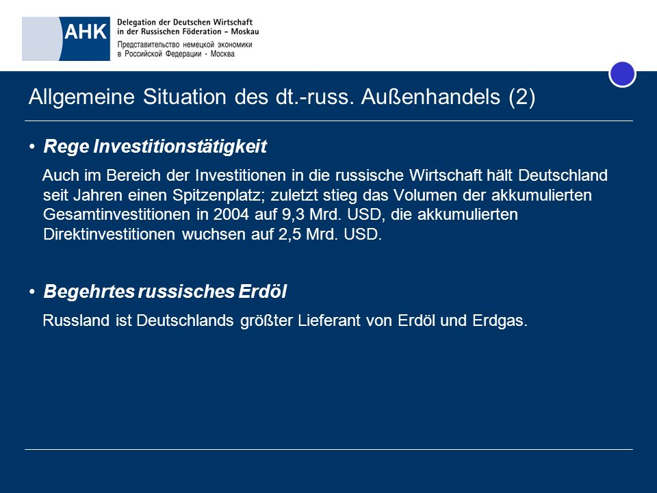 Allgemeine Situation des dt.-russ. Außenhandels (2)