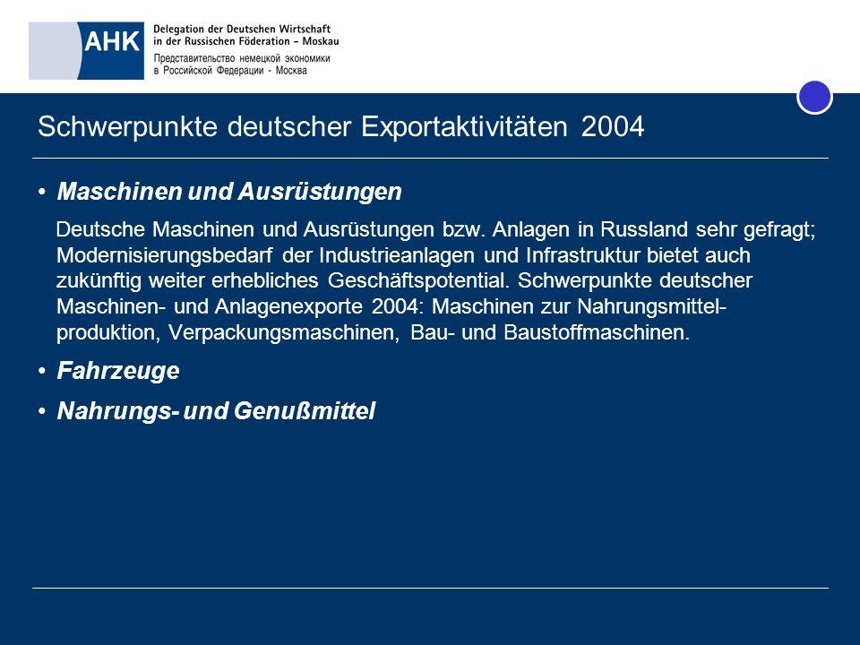 Schwerpunkte deutscher Exportaktivitäten 2004