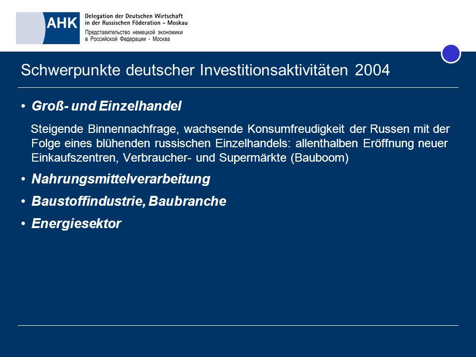Schwerpunkte deutscher Investitionsaktivitäten 2004