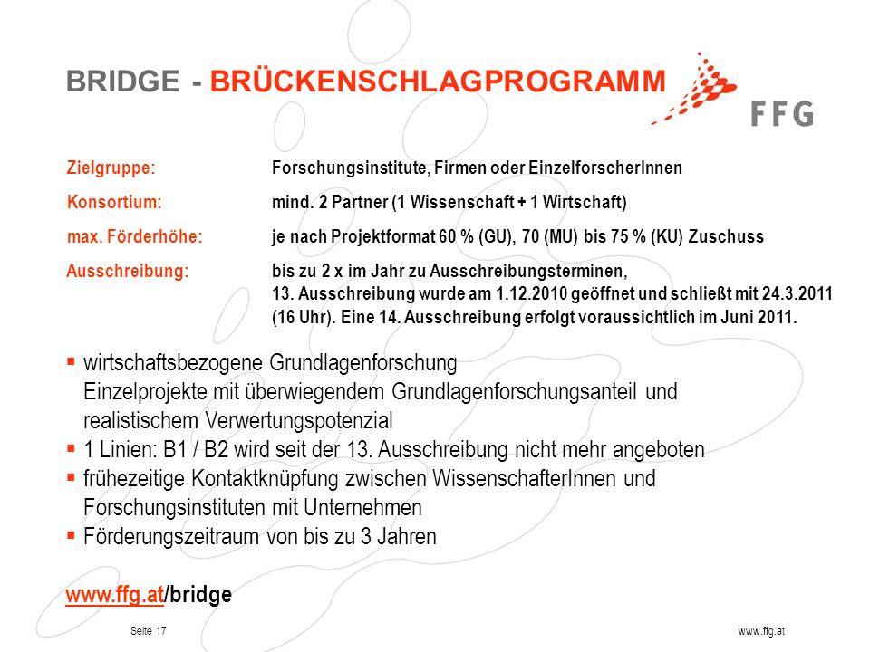 BRIDGE - BRÜCKENSCHLAGPROGRAMM
