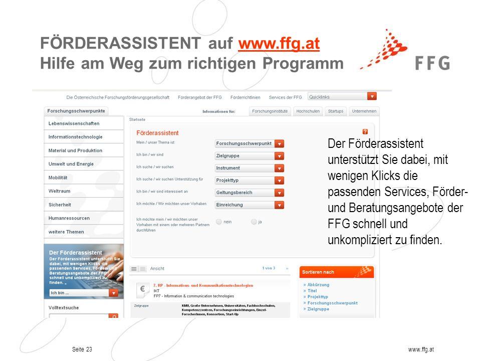 FÖRDERASSISTENT auf www.ffg.at Hilfe am Weg zum richtigen Programm