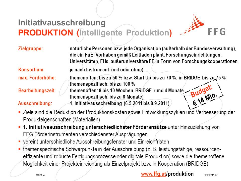 Initiativausschreibung PRODUKTION (Intelligente Produktion)