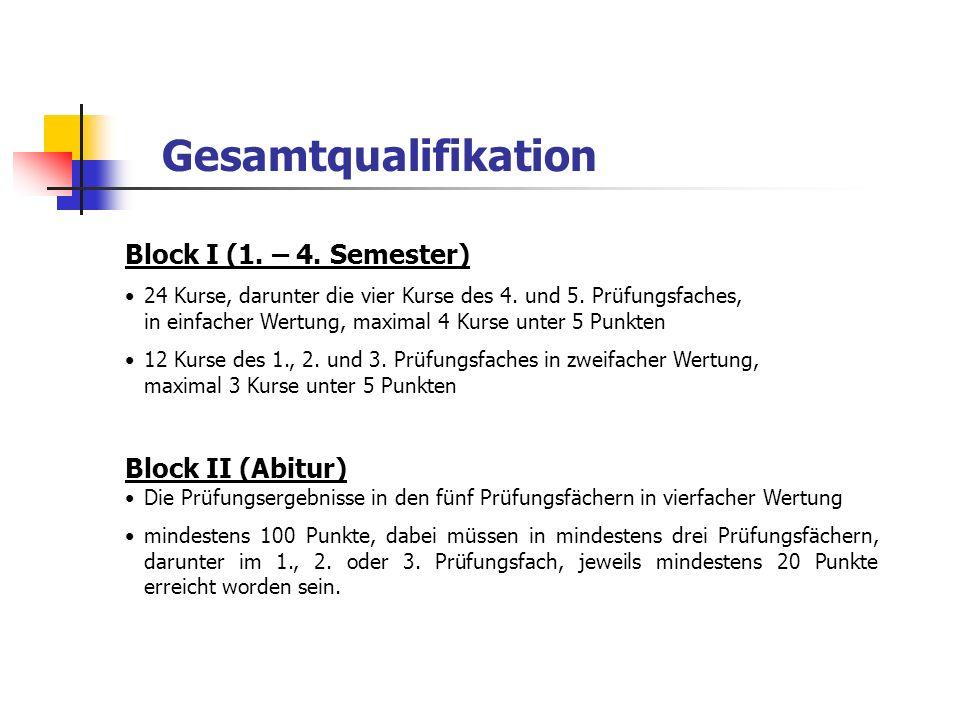 Gesamtqualifikation Block I (1. – 4. Semester) Block II (Abitur)