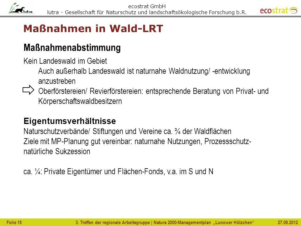 Maßnahmen in Wald-LRT Maßnahmenabstimmung Kein Landeswald im Gebiet