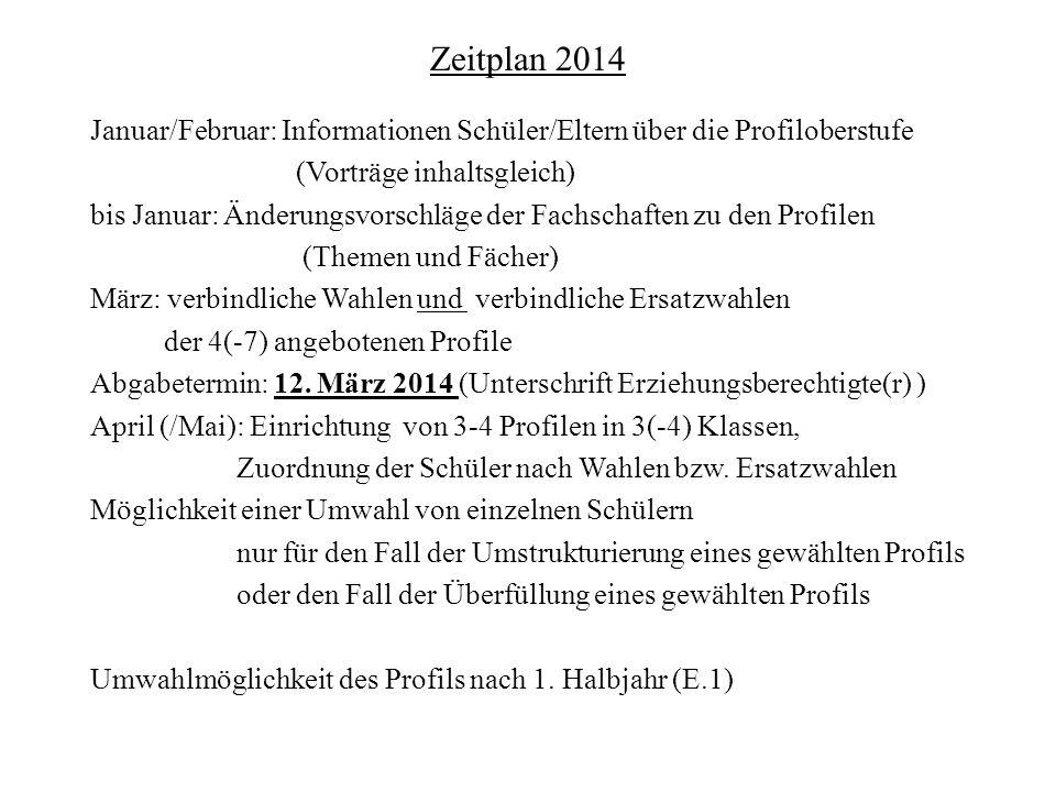 Zeitplan 2014 Januar/Februar: Informationen Schüler/Eltern über die Profiloberstufe. (Vorträge inhaltsgleich)