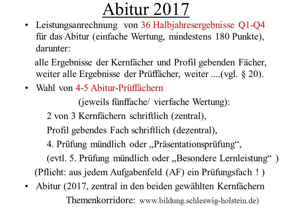 Abitur 2017 Leistungsanrechnung von 36 Halbjahresergebnisse Q1-Q4 für das Abitur (einfache Wertung, mindestens 180 Punkte), darunter: