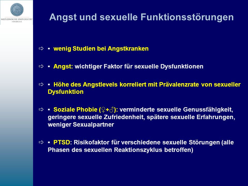 Angst und sexuelle Funktionsstörungen