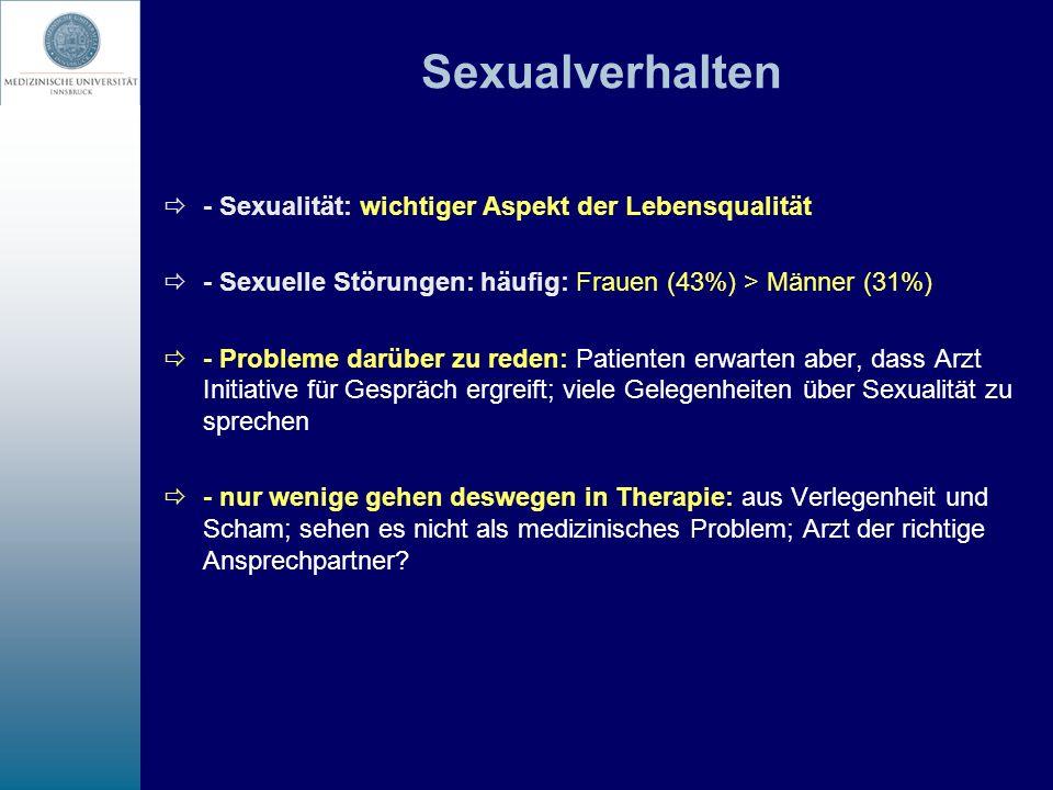 Sexualverhalten - Sexualität: wichtiger Aspekt der Lebensqualität