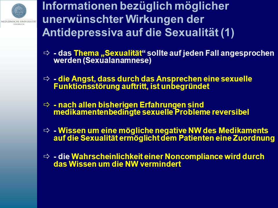 Informationen bezüglich möglicher unerwünschter Wirkungen der Antidepressiva auf die Sexualität (1)