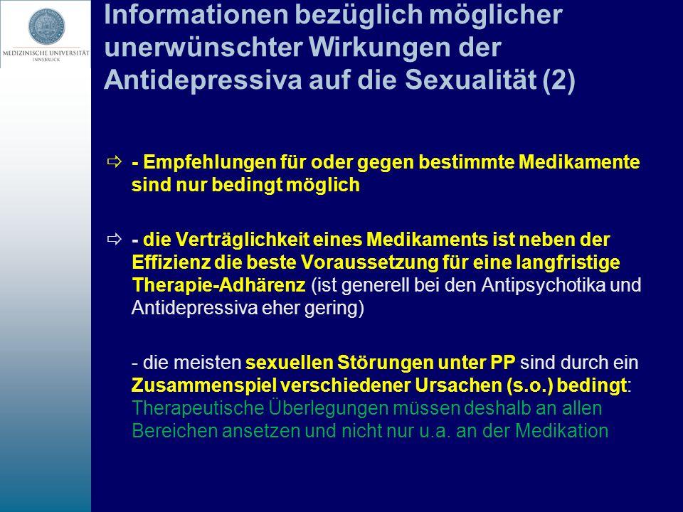 Informationen bezüglich möglicher unerwünschter Wirkungen der Antidepressiva auf die Sexualität (2)