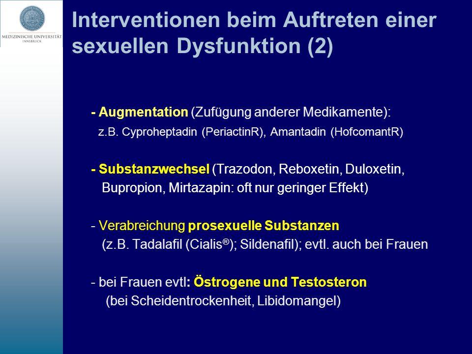 Interventionen beim Auftreten einer sexuellen Dysfunktion (2)