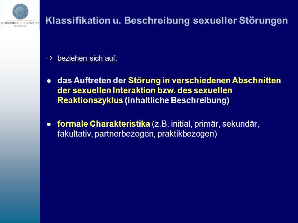 Klassifikation u. Beschreibung sexueller Störungen