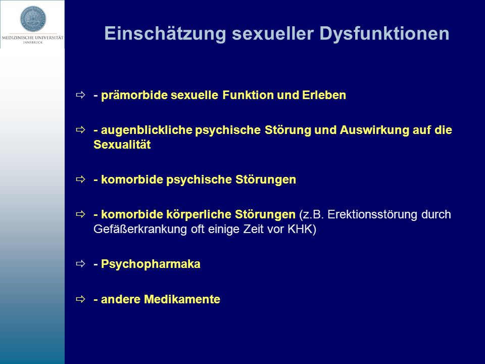Einschätzung sexueller Dysfunktionen