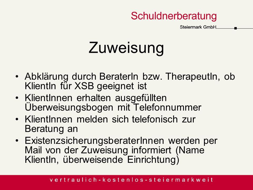 Zuweisung Abklärung durch BeraterIn bzw. TherapeutIn, ob KlientIn für XSB geeignet ist.