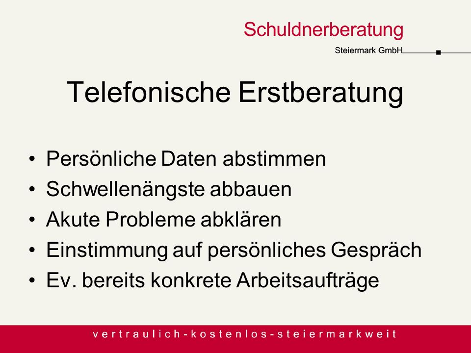 Telefonische Erstberatung