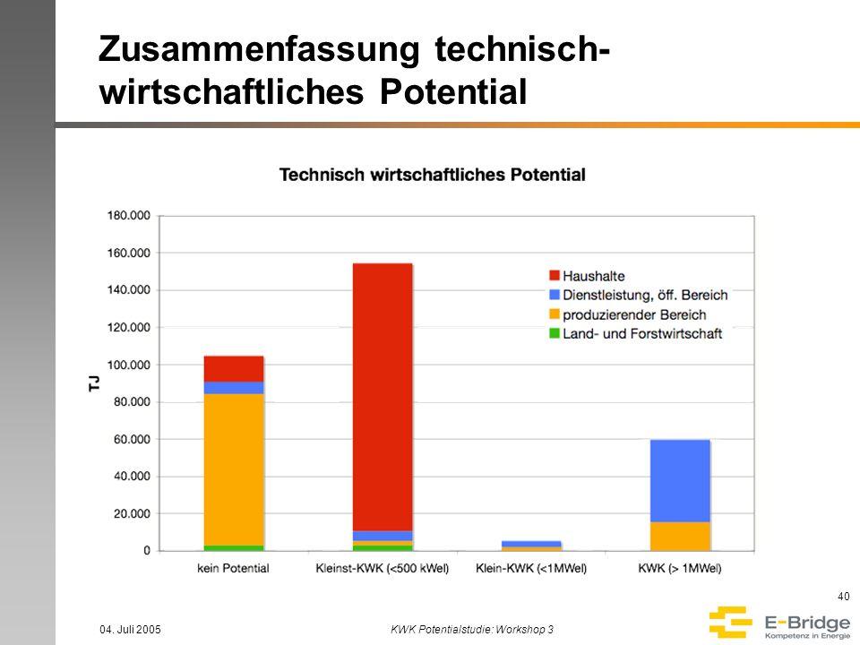Zusammenfassung technisch-wirtschaftliches Potential