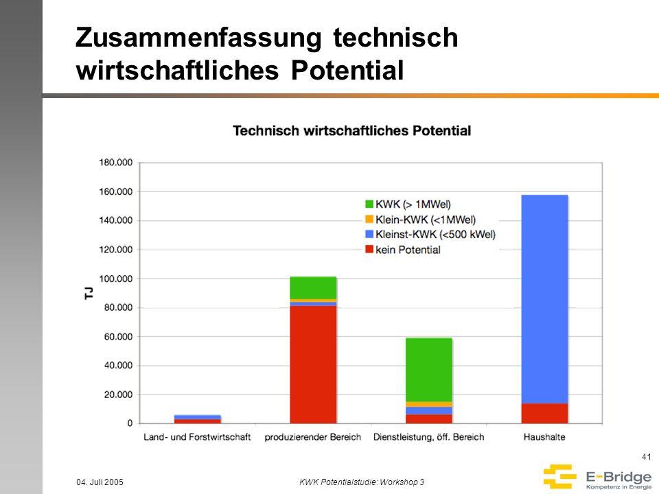Zusammenfassung technisch wirtschaftliches Potential