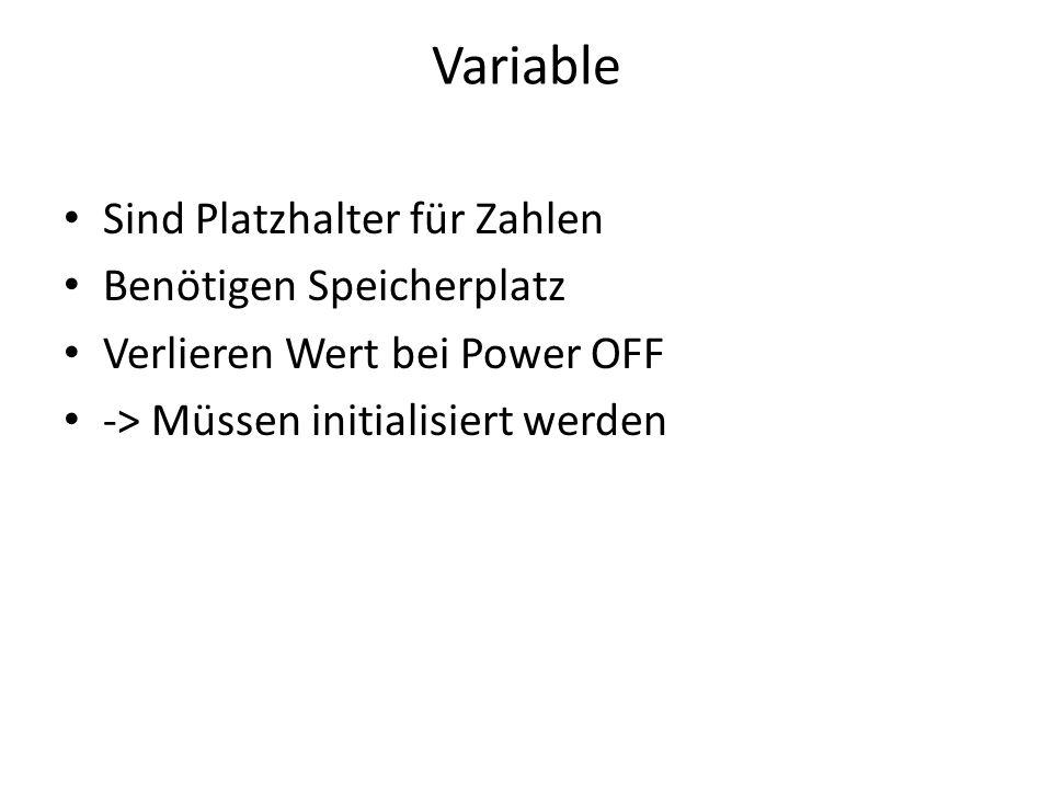 Variable Sind Platzhalter für Zahlen Benötigen Speicherplatz
