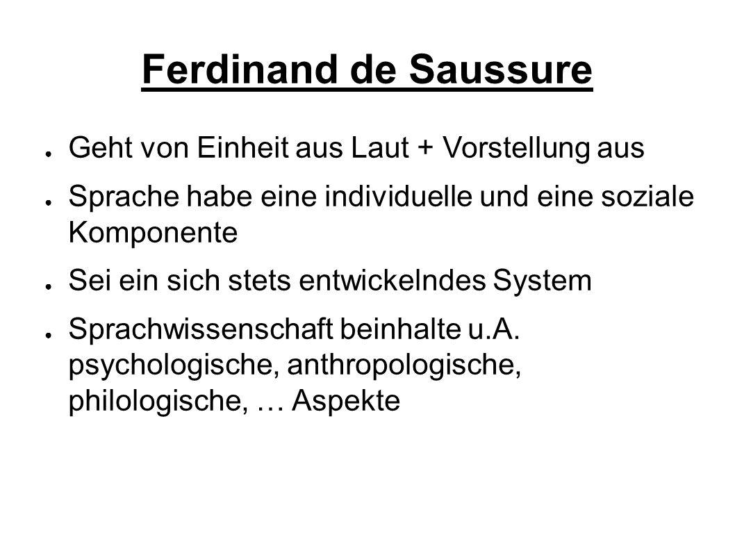 Ferdinand de Saussure Geht von Einheit aus Laut + Vorstellung aus