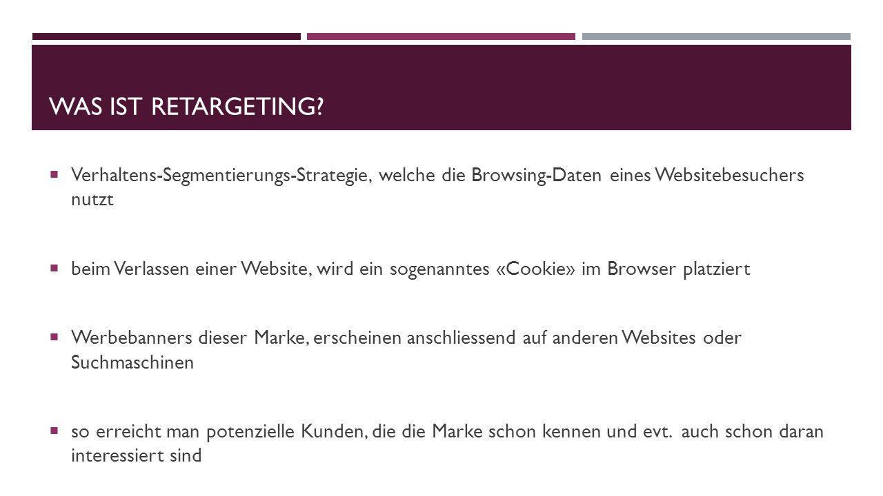Was ist retargeting Verhaltens-Segmentierungs-Strategie, welche die Browsing-Daten eines Websitebesuchers nutzt.