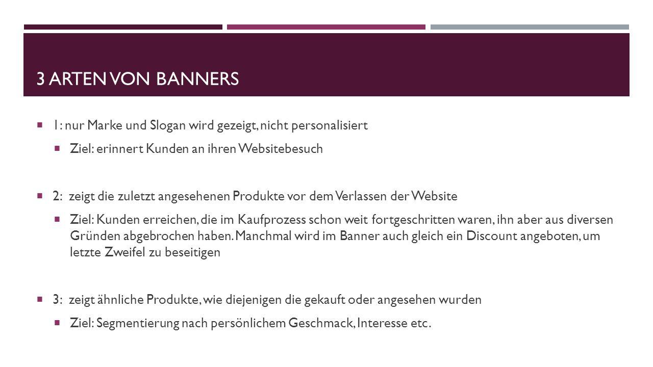 3 Arten von banners 1: nur Marke und Slogan wird gezeigt, nicht personalisiert. Ziel: erinnert Kunden an ihren Websitebesuch.